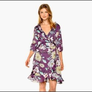 NWT: PURPLE FLORAL WRAP DRESS, 3/4 SLEEVES, LARGE